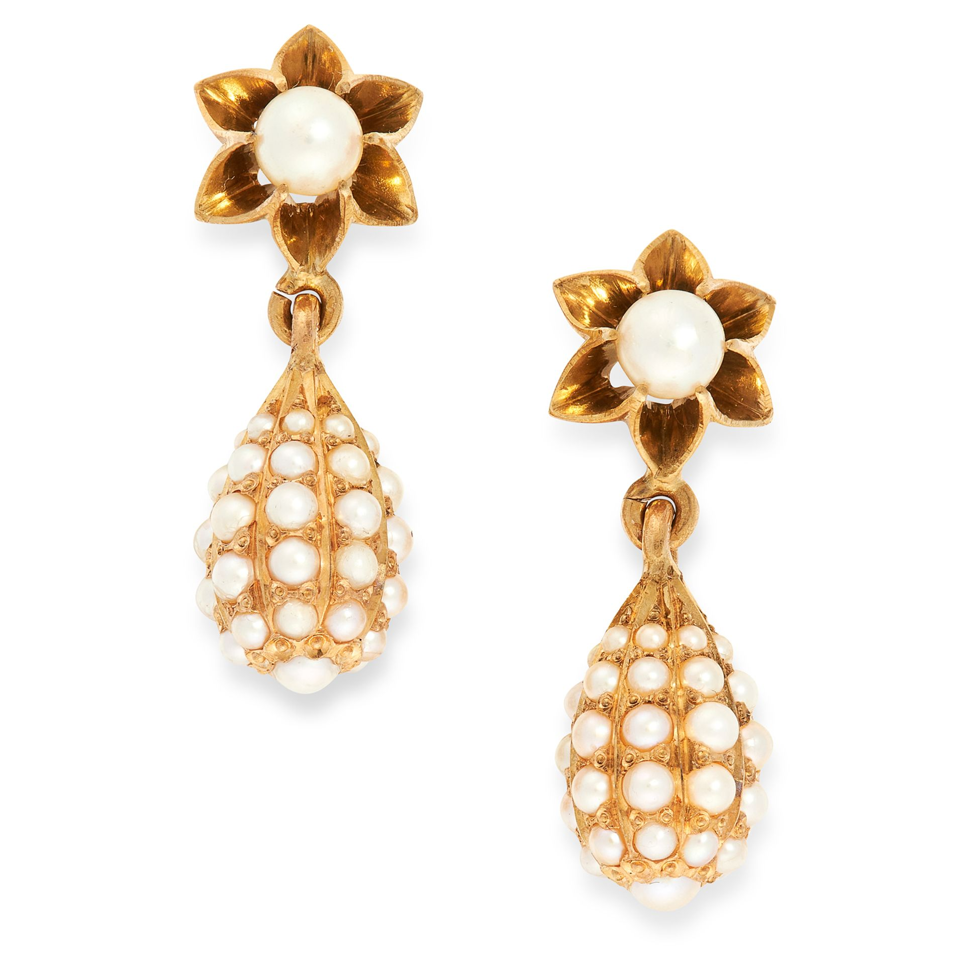 A PAIR OF ANTIQUE PEARL DROP EARRINGS in yellow gold, each suspending a tapering drop jewelled