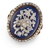 AN ANTIQUE DIAMOND AND BLUE GLASS BAGUE DE FIRMAMENT RING in high carat yellow gold and silver,