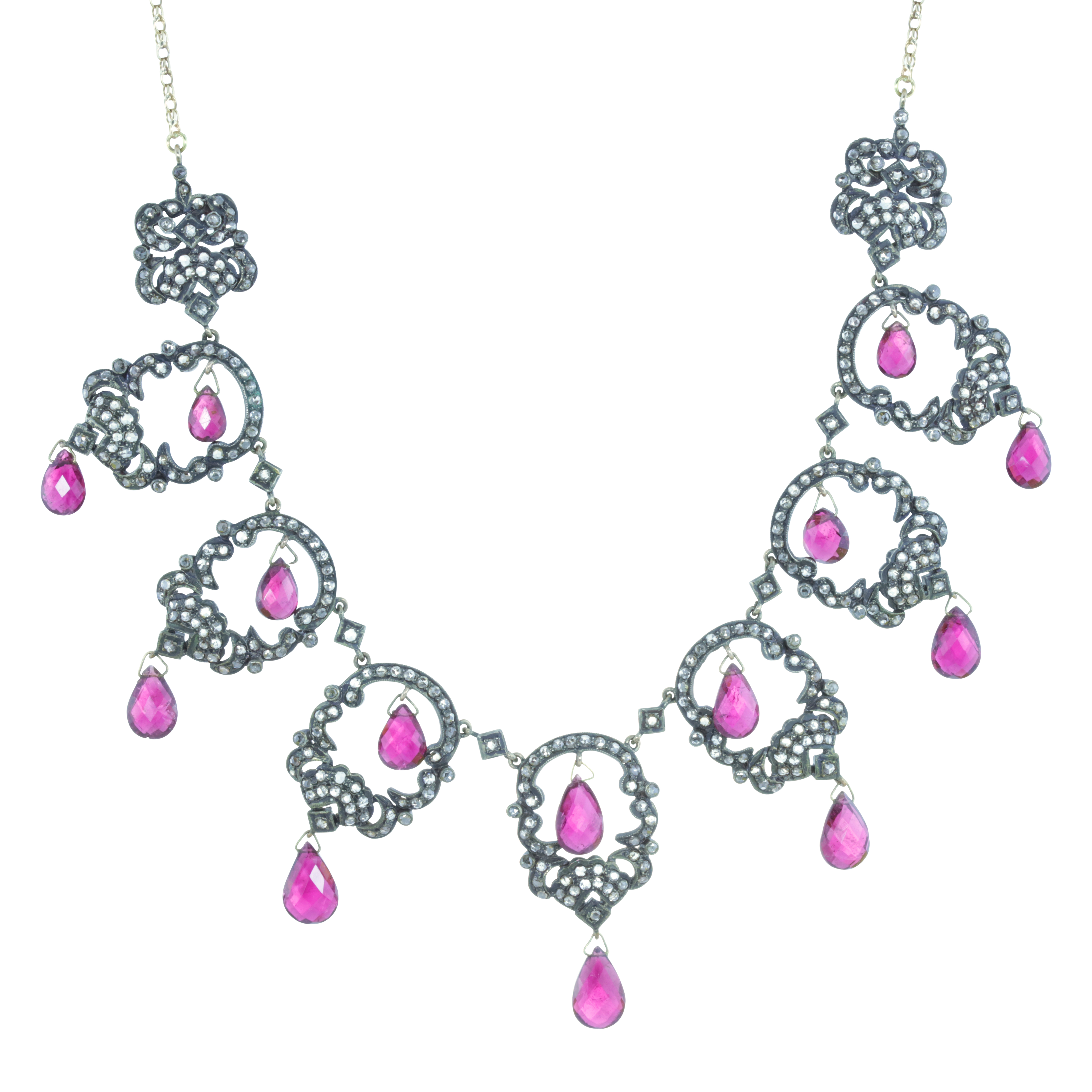 AN ANTIQUE TOURMALINE AND DIAMOND NECKLACE, 19TH CENTURY in 18ct yellow gold and silver, designed as