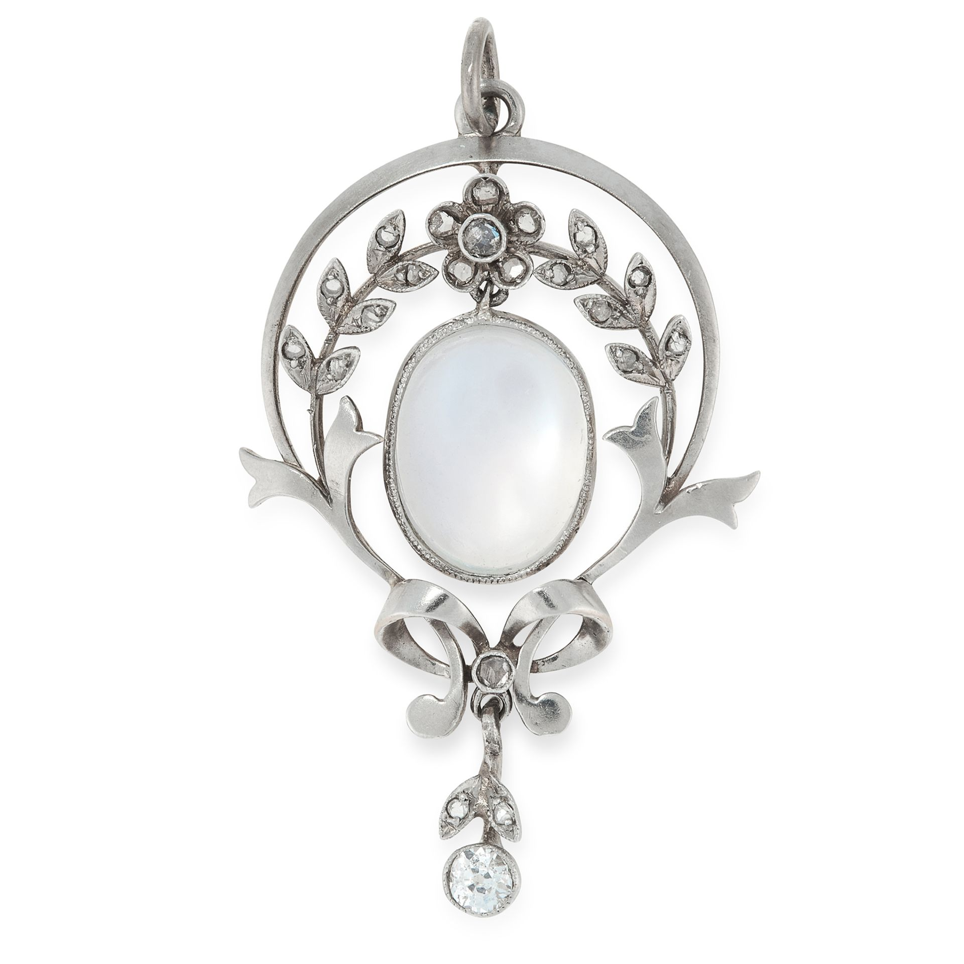 A MOONSTONE AND DIAMOND PENDANT, CIRCA 1900 in yellow gold, set with an oval cabochon moonstone