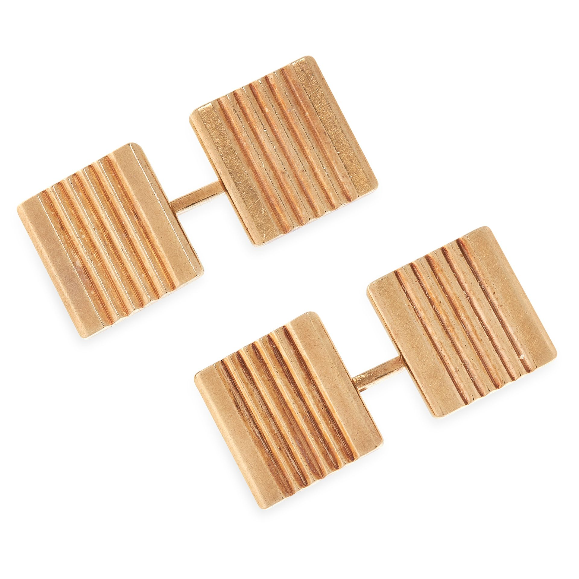 A PAIR OF VINTAGE CUFFLINKS, CARTIER in yellow gold, each formed of two square faces with reeded