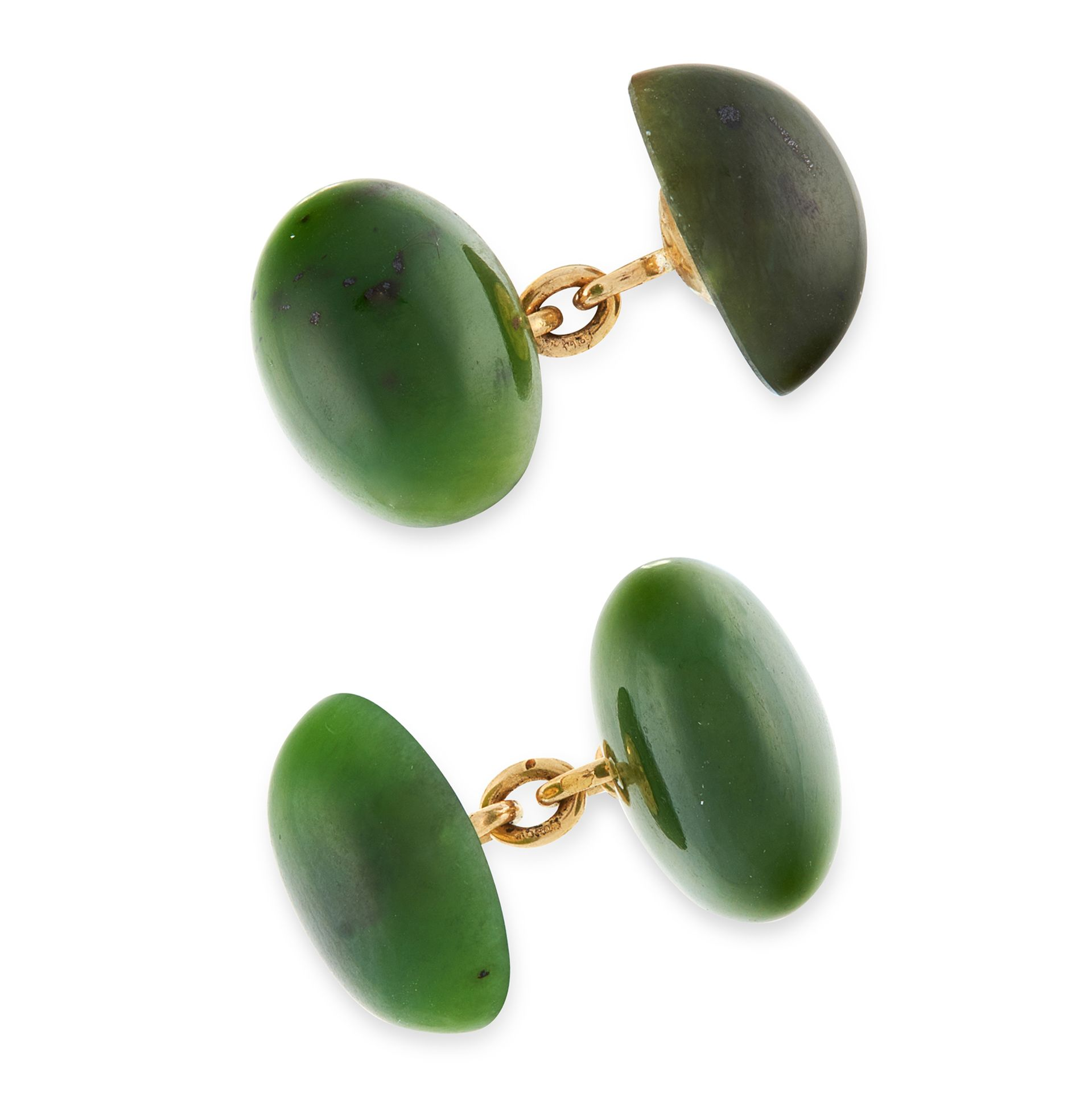 A PAIR OF NEPHRITE JADE CUFFLINKS, LONGMIRE in 18ct yellow gold, each comprising two polished oval