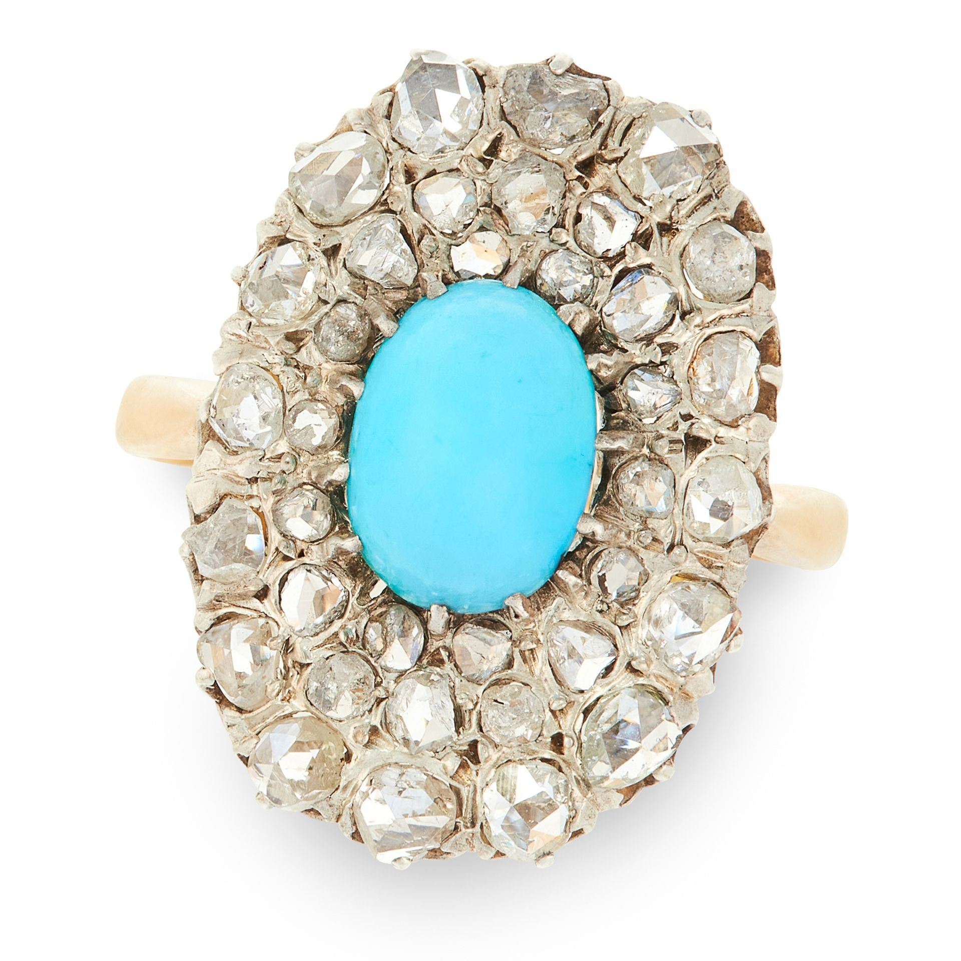 A TURQUOISE AND DIAMOND CLUSTER RING in 18ct yellow gold and silver, set with an oval cabochon