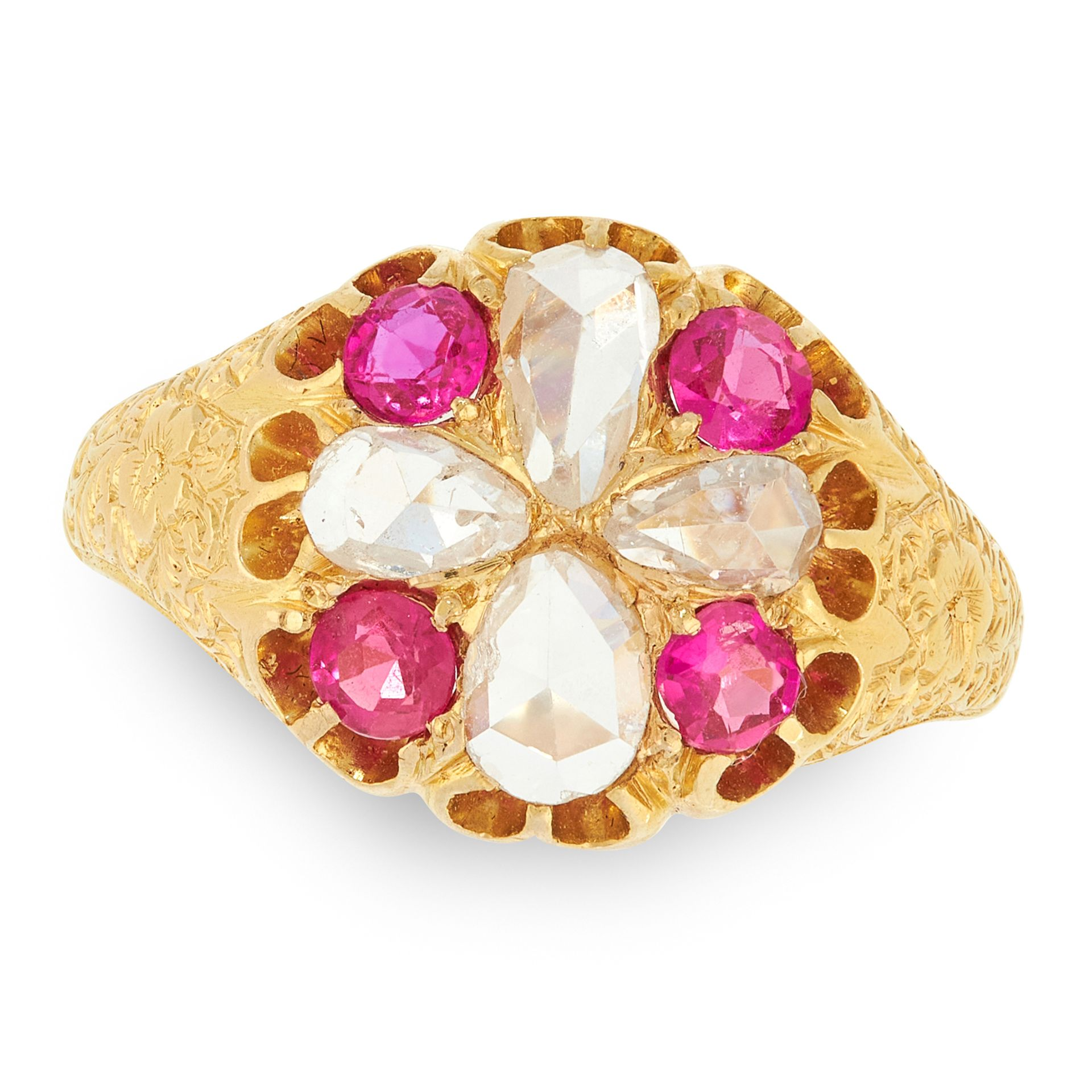 AN ANTIQUE VICTORIAN RUBY AND DIAMOND CLUSTER RING, 1883 in 18ct yellow gold, set with four pear