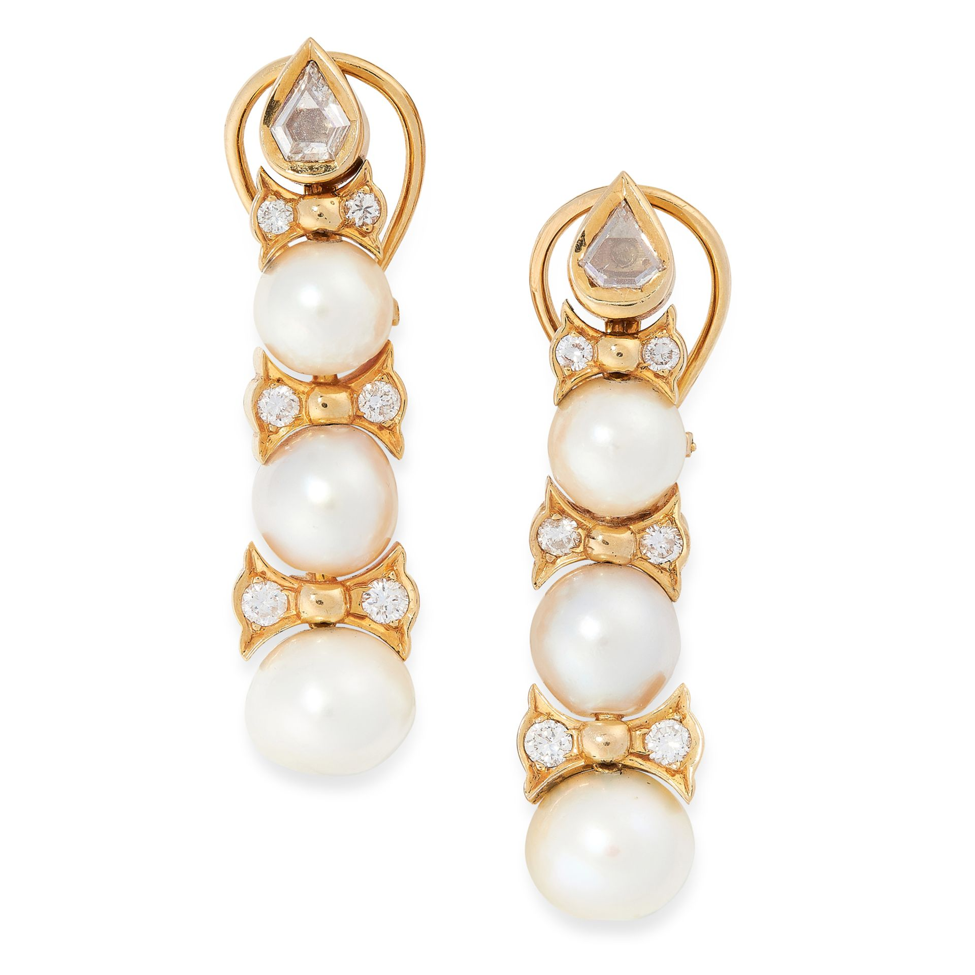 A PAIR OF VINTAGE PEARL AND DIAMOND EARRINGS in 18ct yellow gold, each formed of a trio of graduated