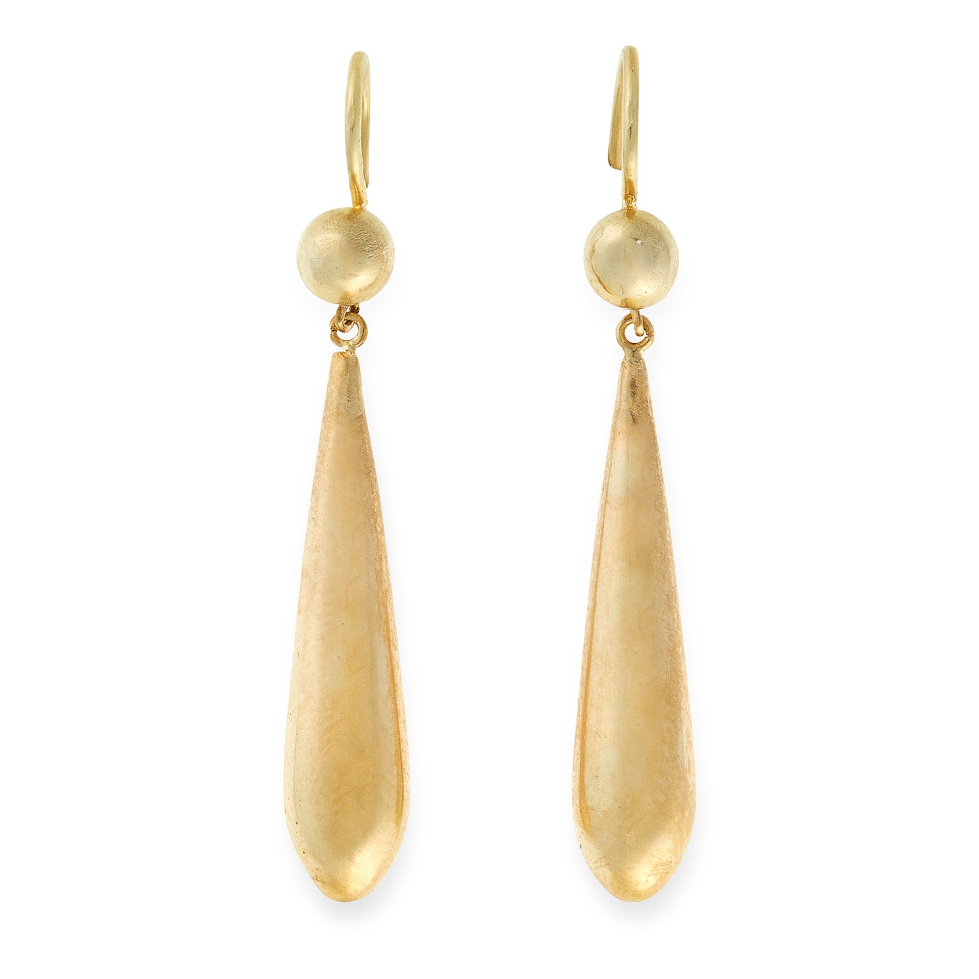 A PAIR OF ANTIQUE DROP EARRINGS, 19TH CENTURY in yellow gold, each comprising a gold ball suspending