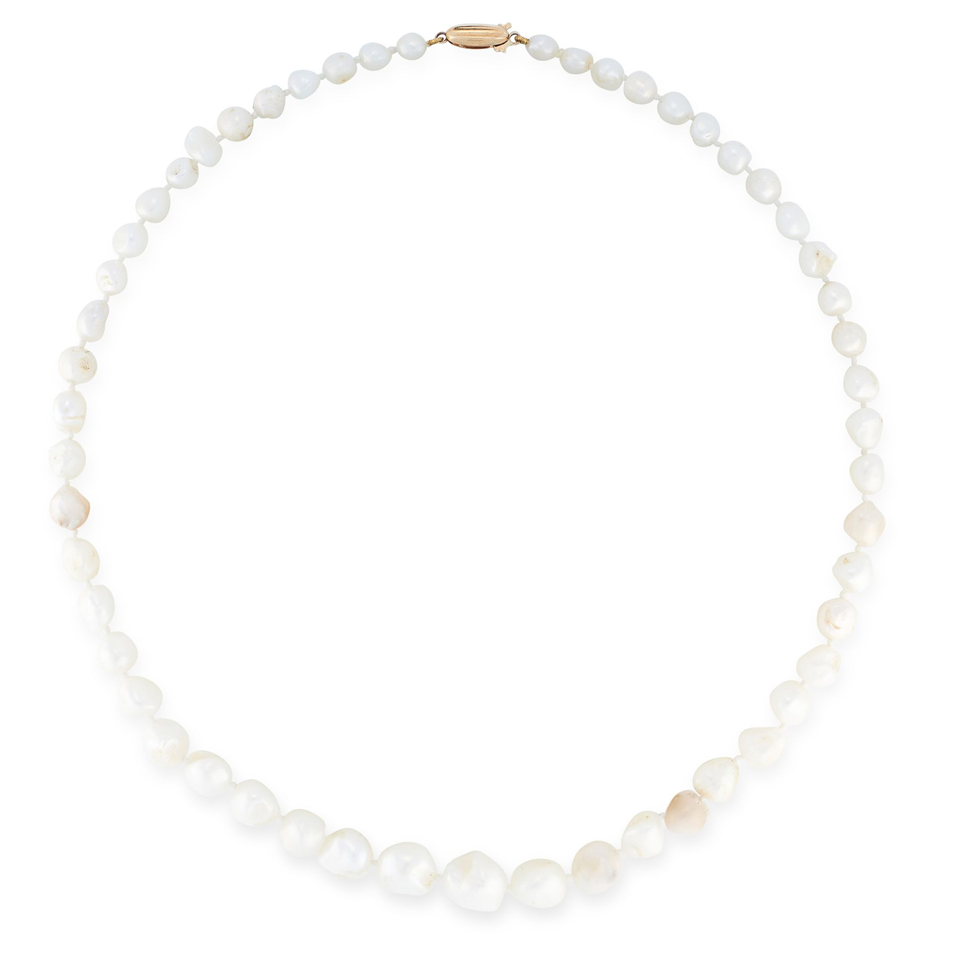 A PEARL NECKLACE comprising a single row of graduated baroque pearls, set on a gold clasp, marked