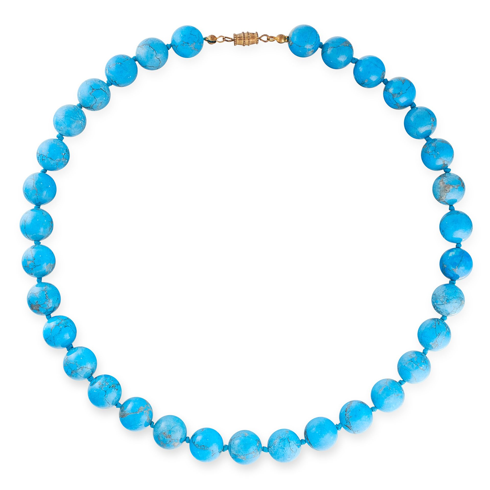 A TURQUOISE BEAD NECKLACE comprising of a single row of thirty three turquoise beads, unmarked,