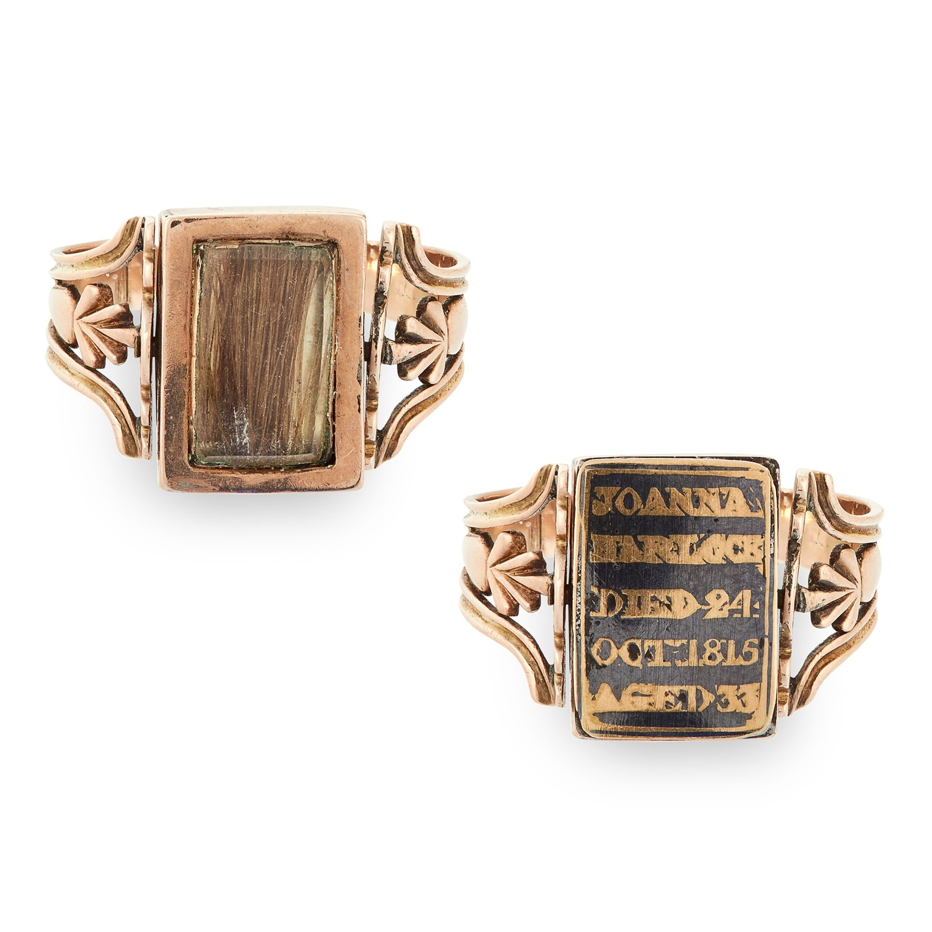 AN ANTIQUE SPINNING ENAMEL AND HAIRWORK MOURNING RING in yellow gold, the spinning rectangular