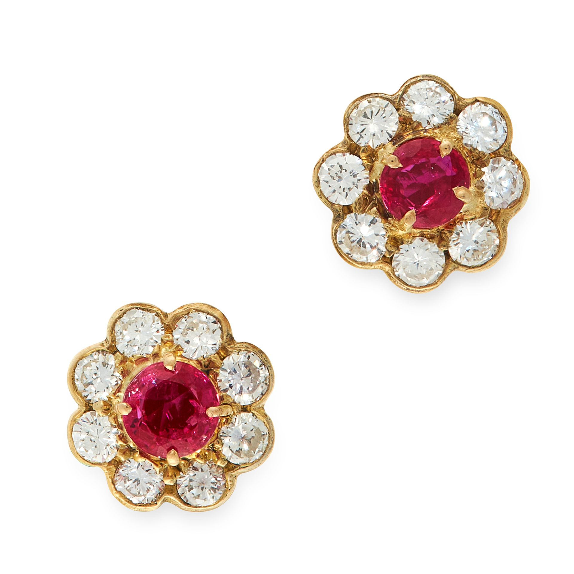 A PAIR OF RUBY AND DIAMOND CLUSTER STUD EARRINGS in 18ct yellow gold, each set with a round cut ruby