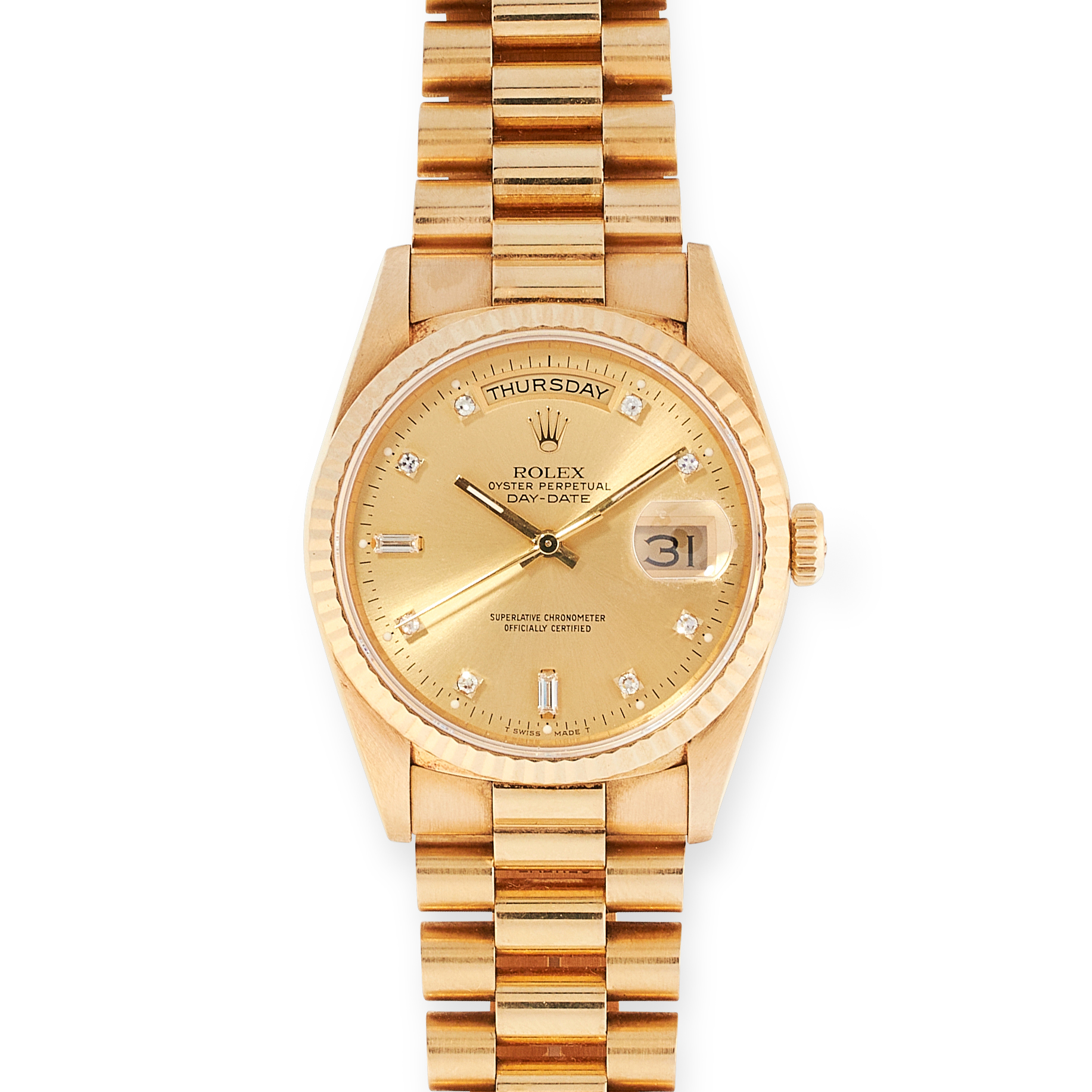 A GENT'S OYSTER PERPETUAL DAY-DATE WRIST WATCH, ROLEX in 18ct yellow gold, the gold coloured dial