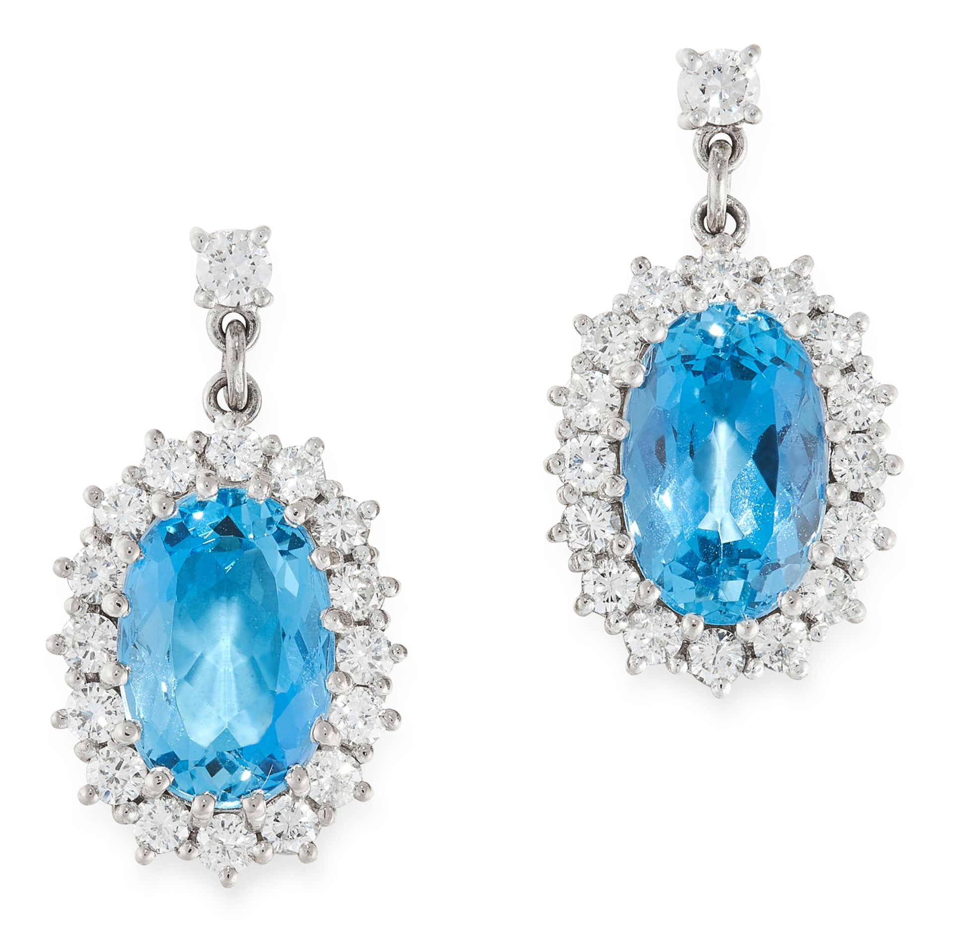 A PAIR OF AQUAMARINE AND DIAMOND EARRINGS in 18ct white gold, each set with an oval cut aquamarine