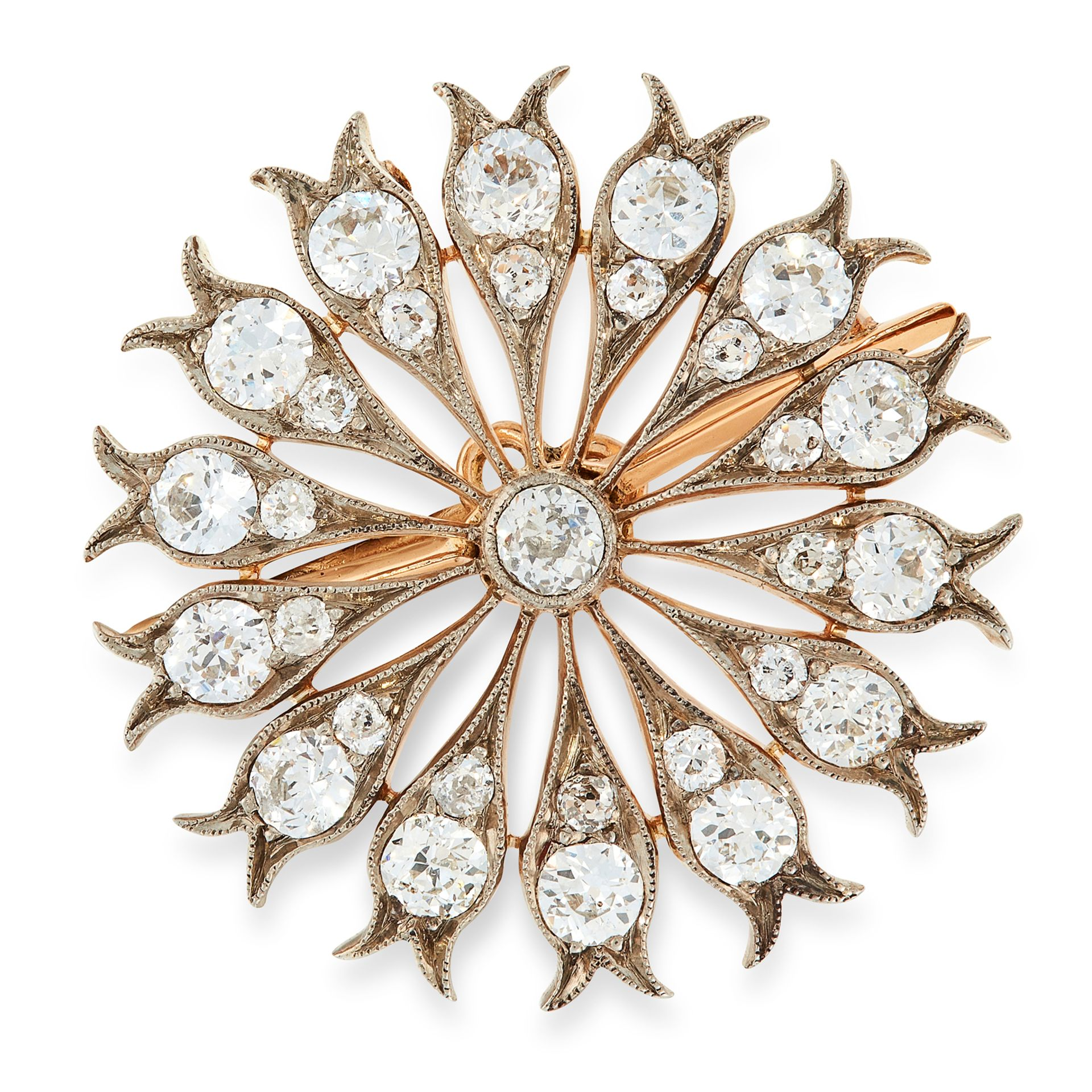 AN ANTIQUE DIAMOND BROOCH / PENDANT in yellow gold and silver, set with a central old cut diamond