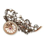AN ANTIQUE DIAMOND, RUBY AND PEARL BROOCH in yellow gold and silver, designed as a cart filled