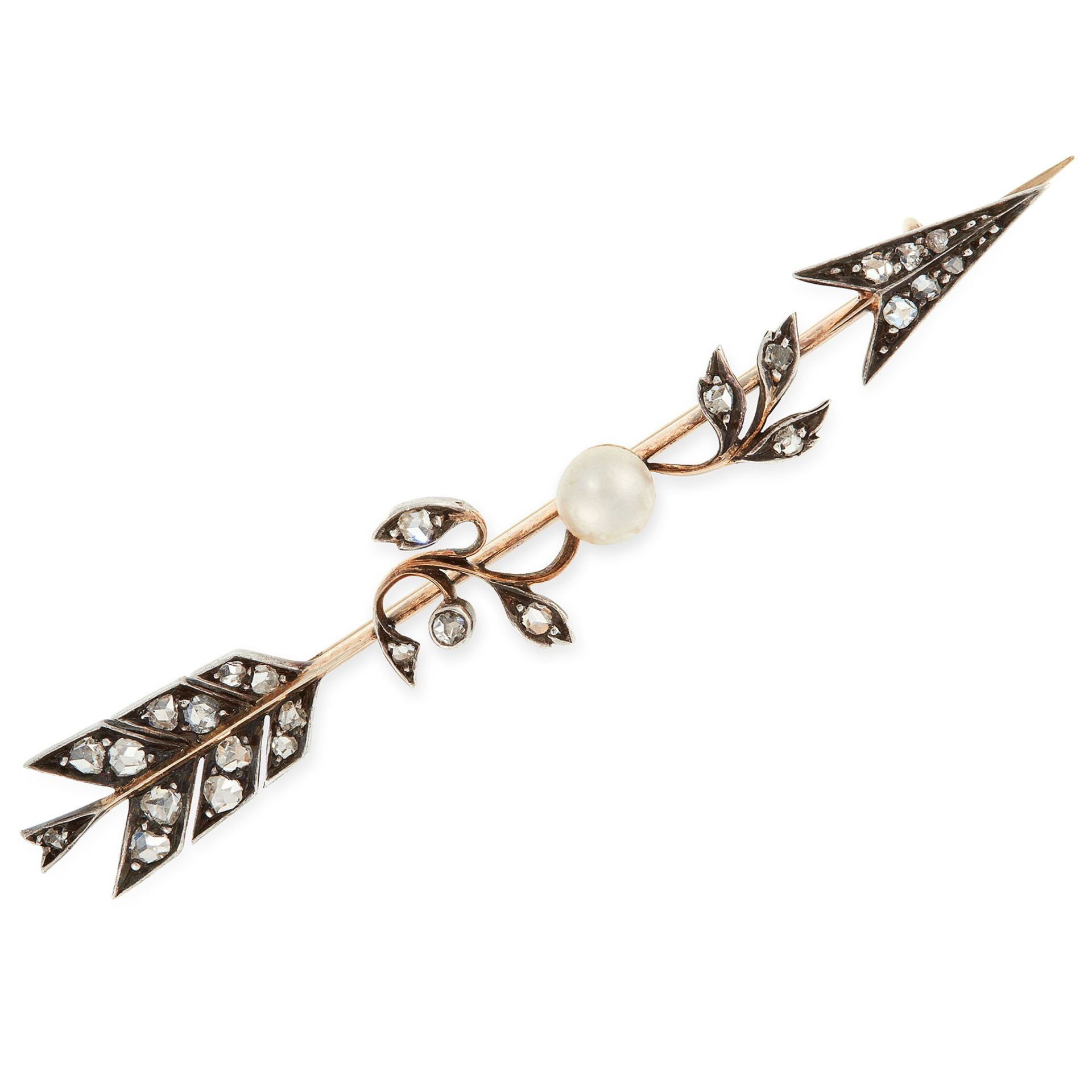 AN ANTIQUE DIAMOND AND PEARL ARROW BROOCH in yellow gold and silver, designed as an arrow, the