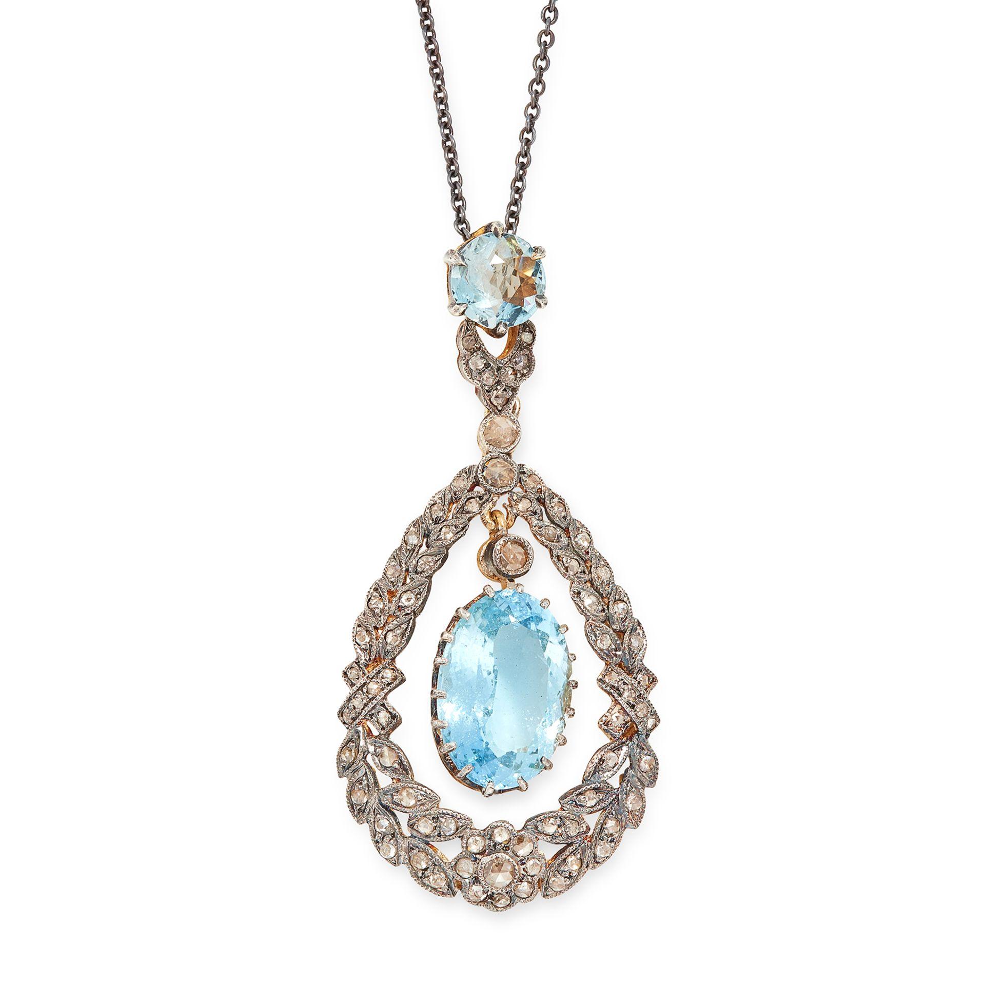 AN AQUAMARINE AND DIAMOND PENDANT AND CHAIN the pendant set with a principal oval cut aquamarine