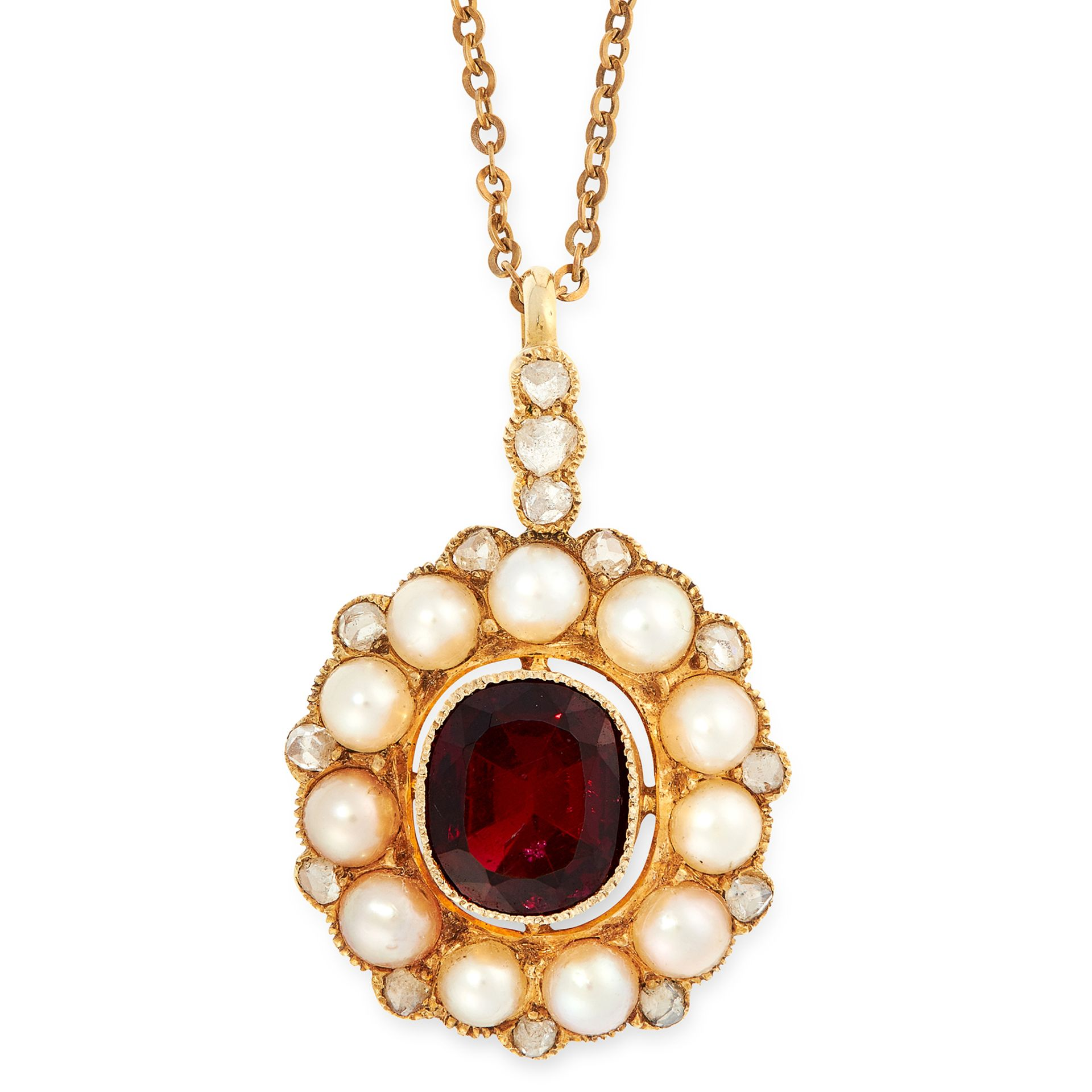 AN ANTIQUE GARNET, PEARL AND DIAMOND PENDANT AND CHAIN in yellow gold, set with a cushion cut garnet