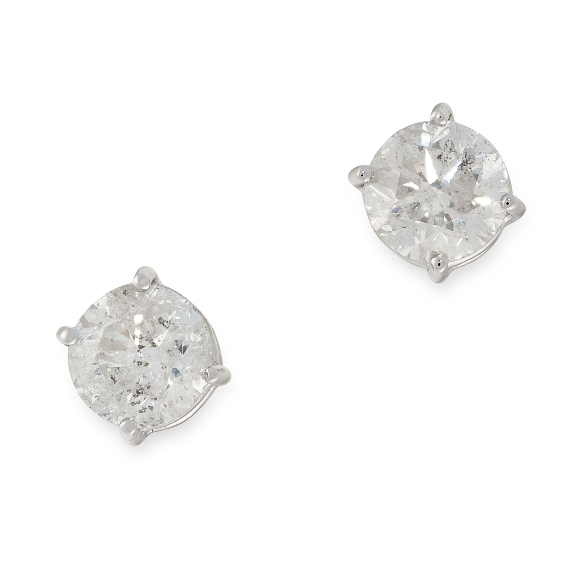 A PAIR OF DIAMOND STUD EARRINGS in 18ct white gold, each set with a round cut diamond, both
