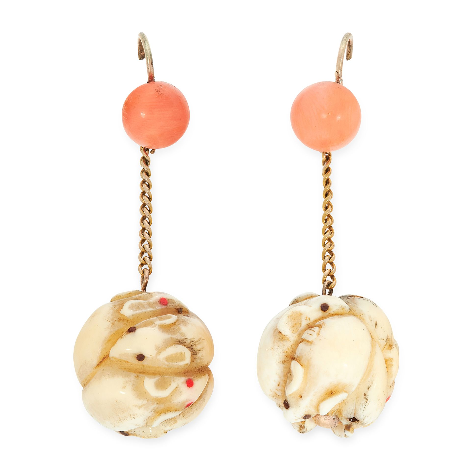 A PAIR OF ANTIQUE CORAL AND IVORY BEAD EARRINGS in yellow gold, each set with a coral bead