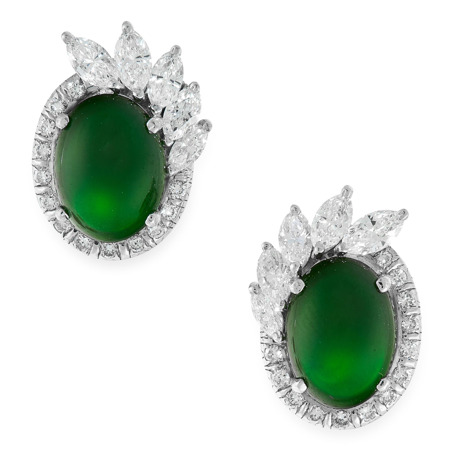 A PAIR OF IMPERIAL JADEITE JADE AND DIAMOND EARRINGS in white gold, each set with an oval jadeite