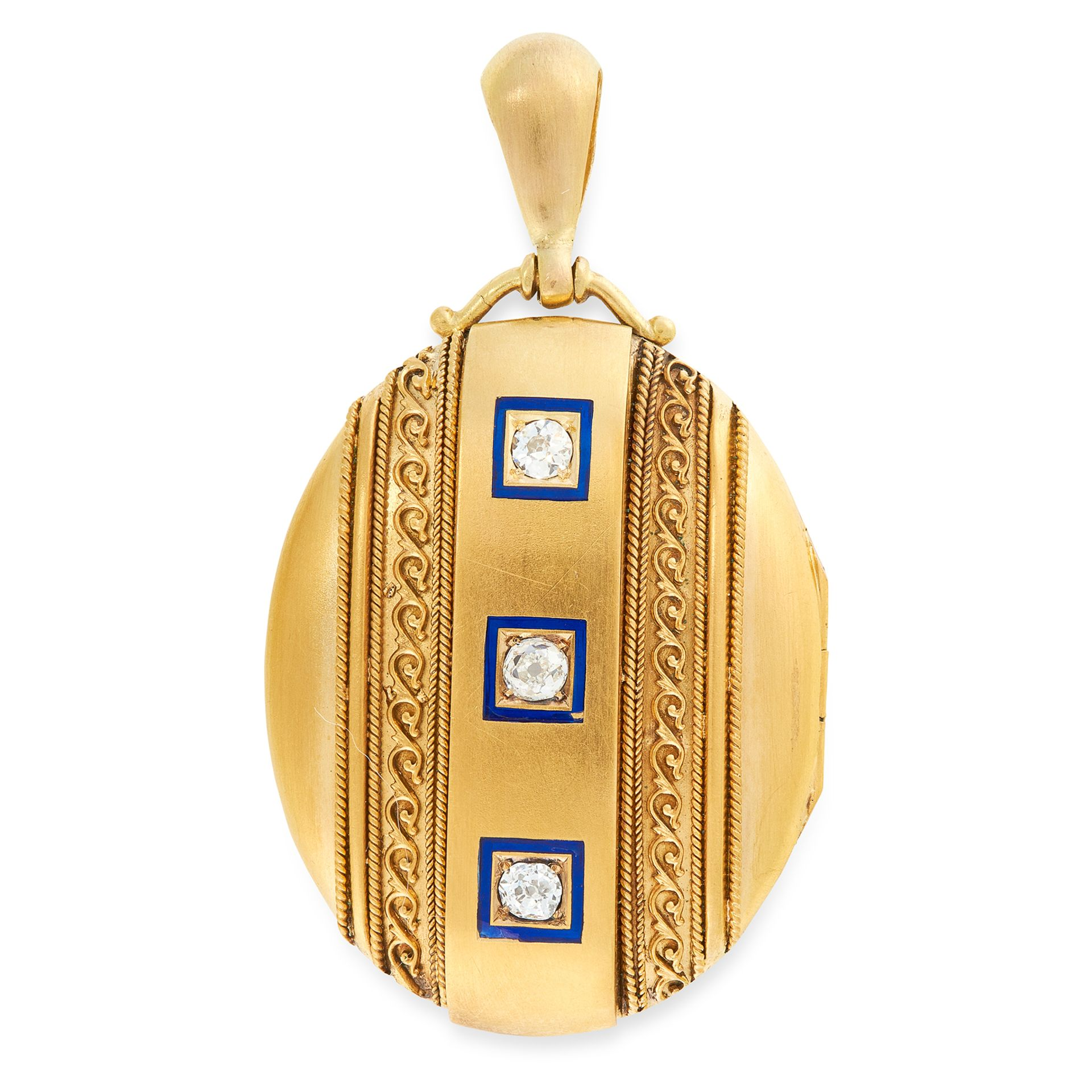 AN ANTIQUE DIAMOND AND ENAMEL MOURNING LOCKET PENDANT in high carat yellow gold, the oval hinged