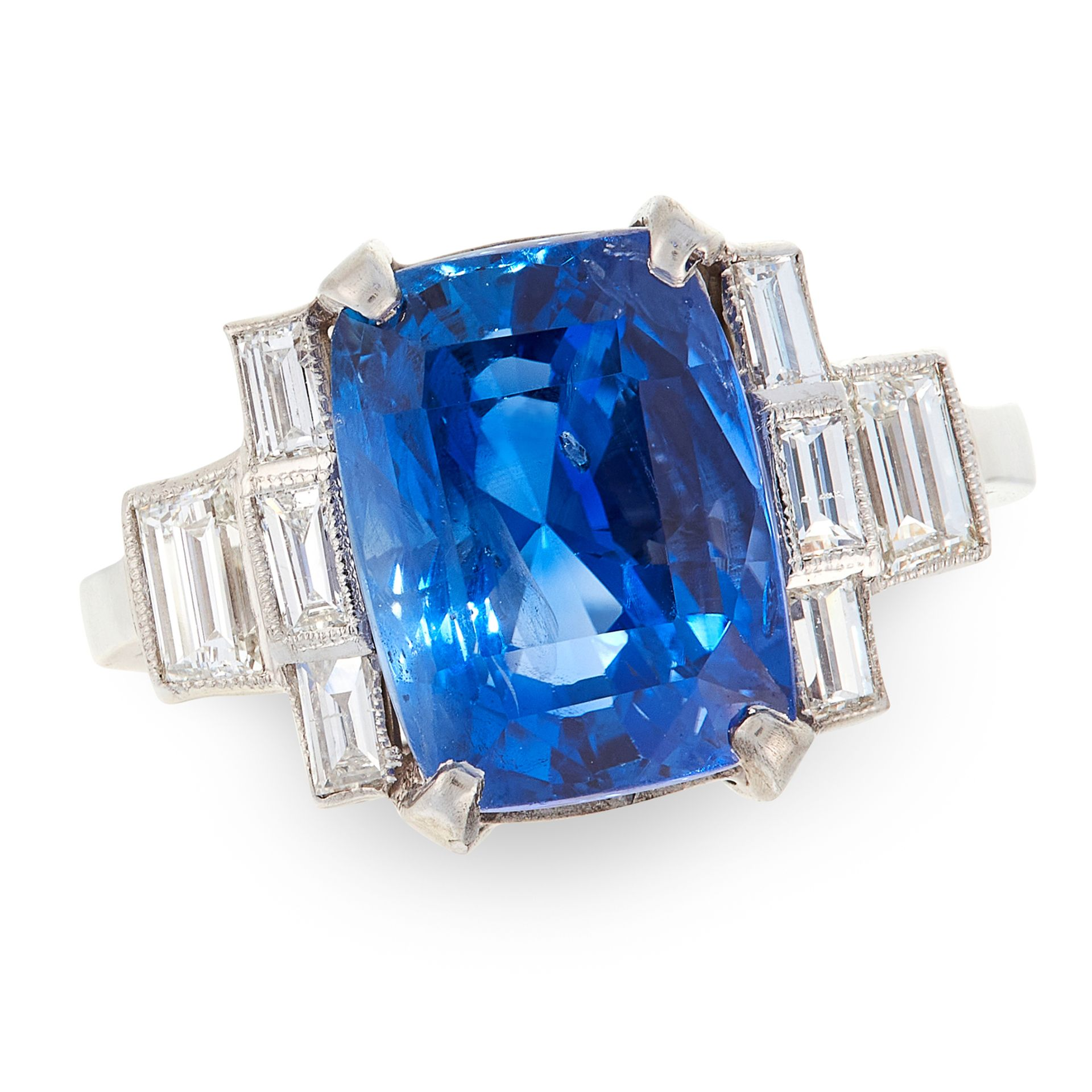 AN UNHEATED SAPPHIRE AND DIAMOND RING in platinum, set with a cushion cut sapphire of 8.33 carats in