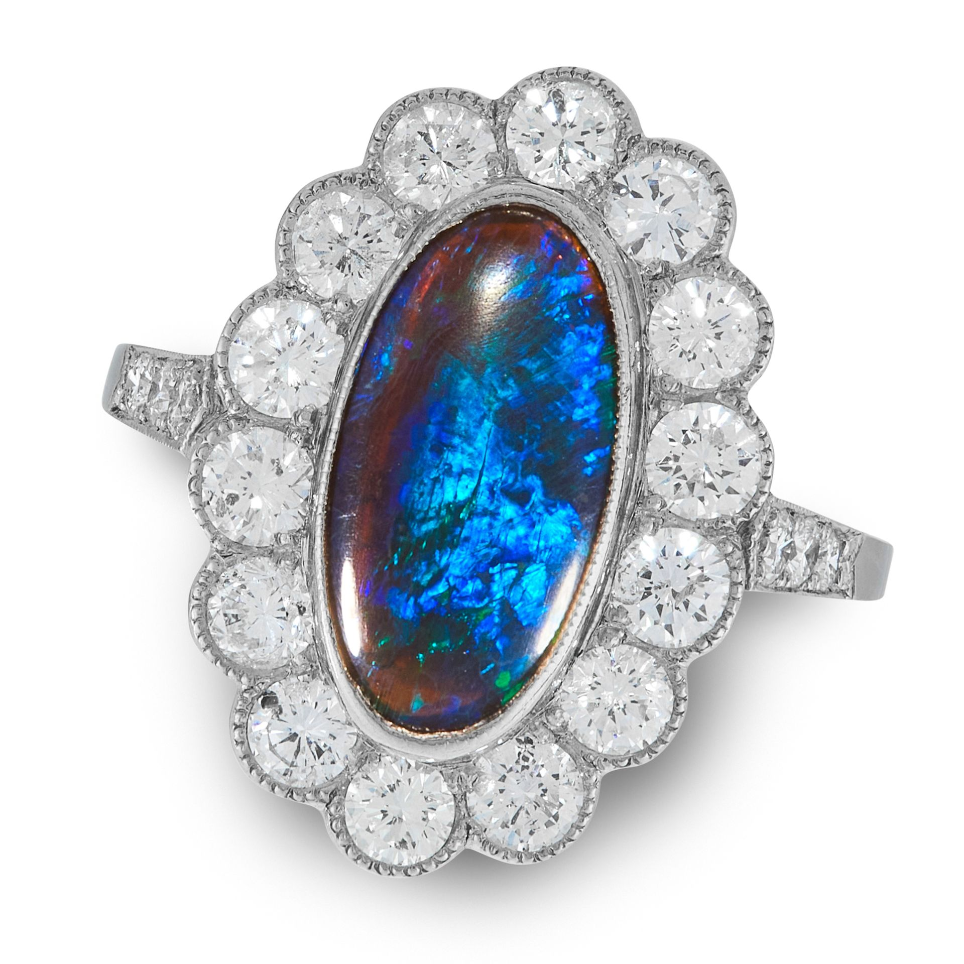 A BLACK OPAL AND DIAMOND CLUSTER RING in white gold or platinum, set with an oval cabochon black