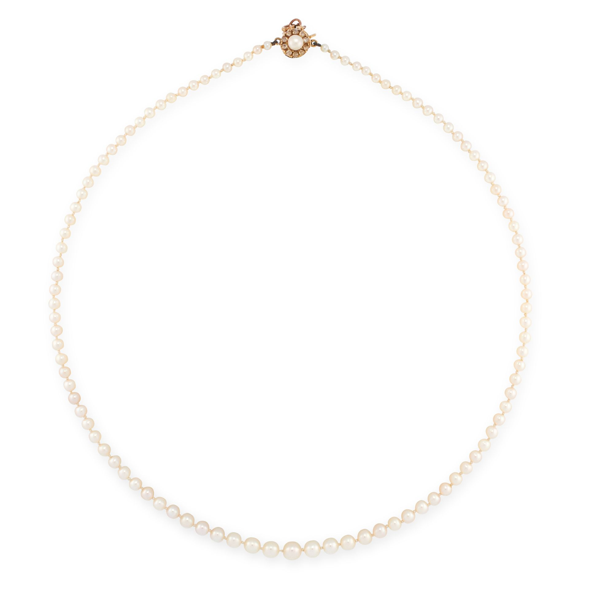 A PEARL AND DIAMOND NECKLACE in yellow gold, comprising of a single row of graduated pearls, on a