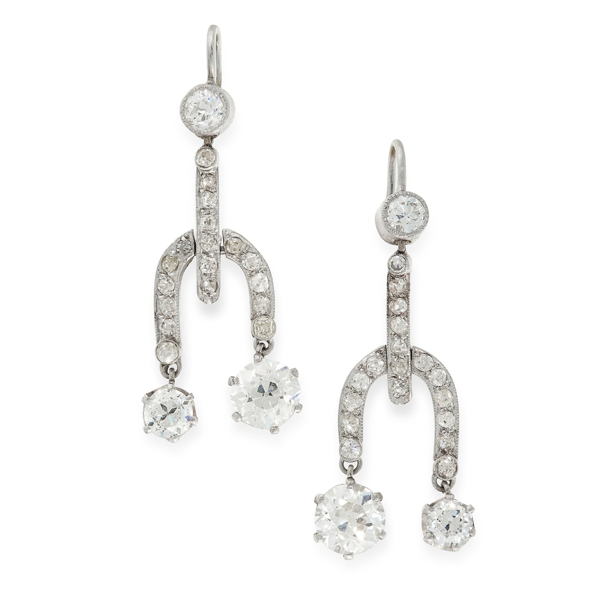 A PAIR OF DIAMOND DROP EARRINGS, EARLY 20TH CENTURY each set with a principal old cut diamond of 0.