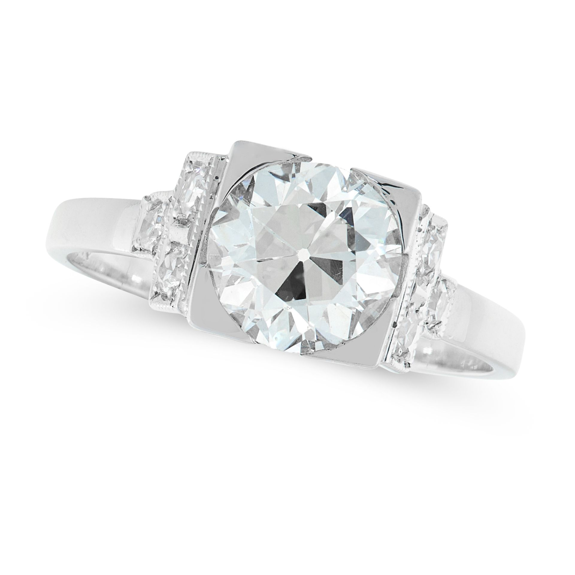 A SOLITIARE DIAMOND RING in white gold, set with a principal old cut diamond of 1.68 carats, between