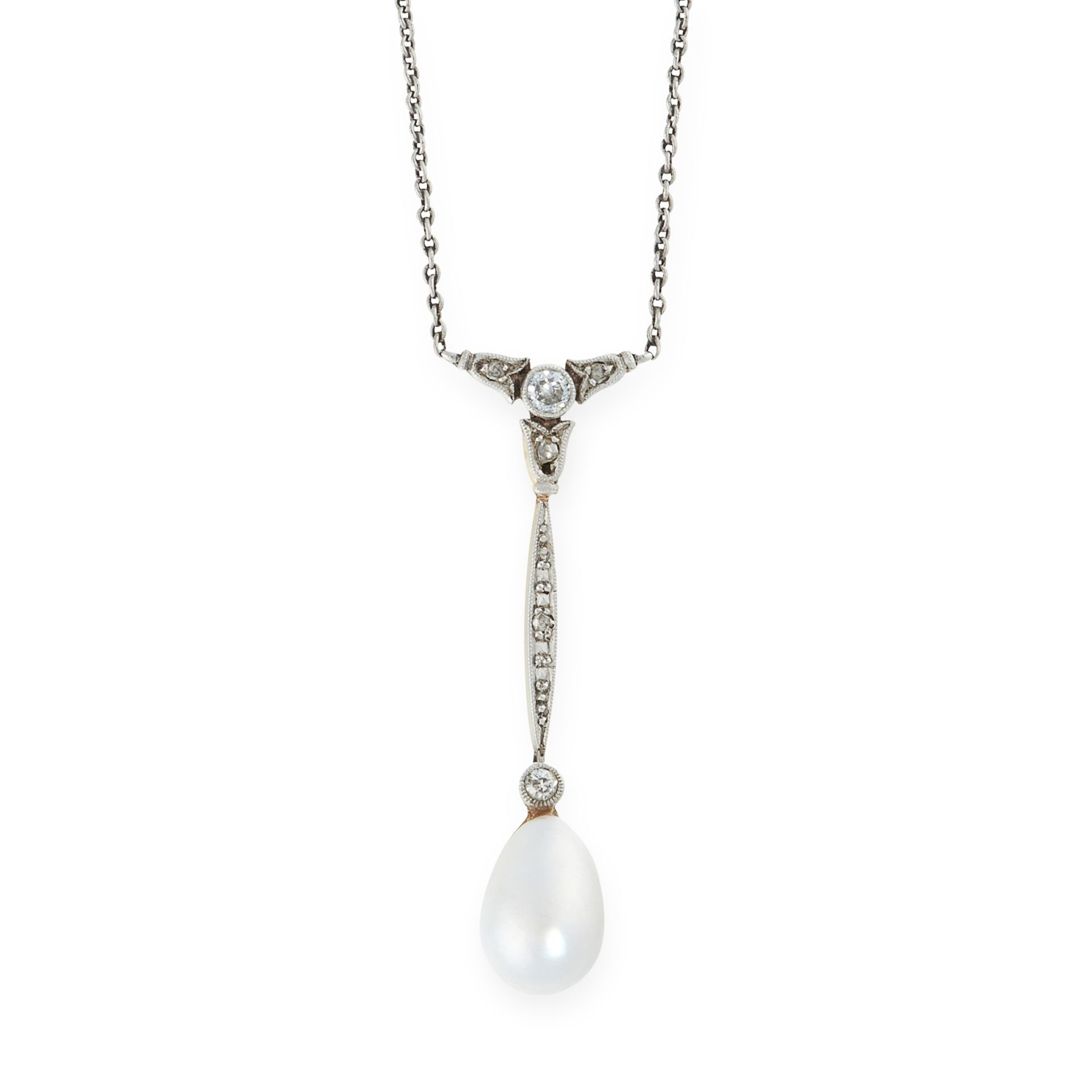A PEARL AND DIAMOND PENDANT NECKLACE, EARLY 20TH CENTURY set with a drop shaped pearl of 9.5mm