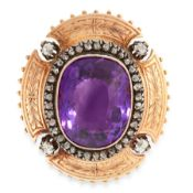 AN ANTIQUE AMETHYST AND DIAMOND BROOCH / PENDANT in 18ct yellow gold and silver, set with a