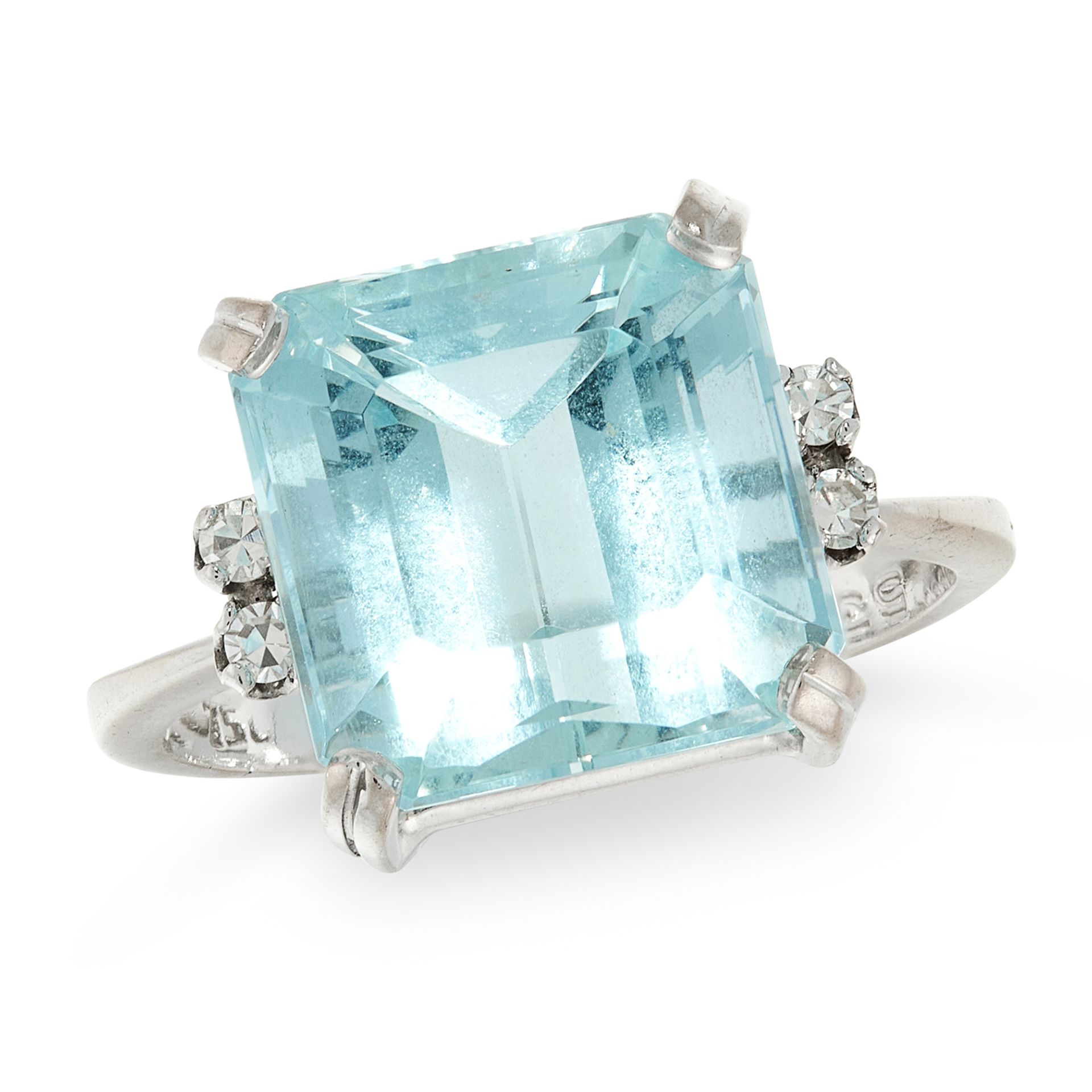 A VINTAGE AQUAMARINE AND DIAMOND RING, H STERN in 18ct white gold, set with a step cut aquamarine of