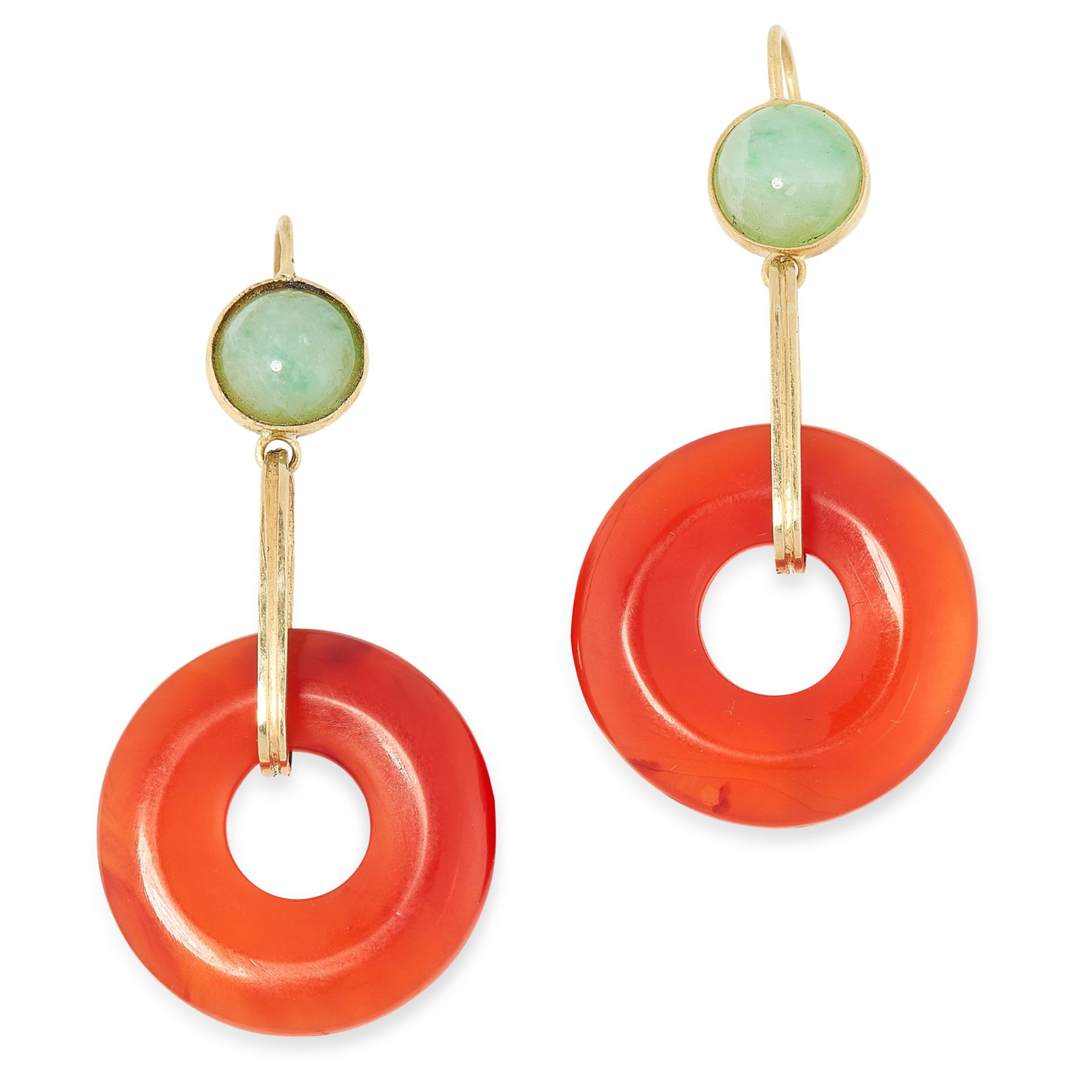 A PAIR OF CARNELIAN AND JADE DROP EARRINGS in 18ct yellow gold, each set with a polished carnelian