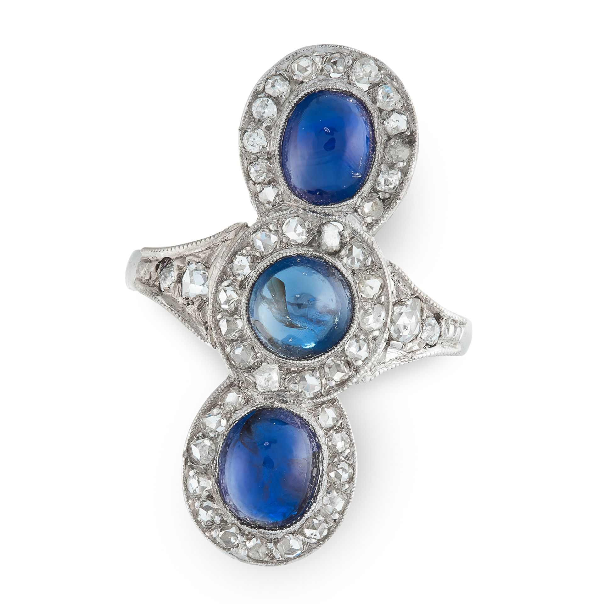 A SAPPHIRE AND DIAMOND DRESS RING in 18ct white gold and platinum, set with three cabochon sapphires