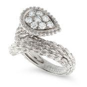 A SERPENT BOHEME DIAMOND SNAKE RING, BOUCHERON in 18ct white gold, the textured body coiled around