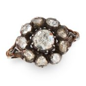AN ANTIQUE DIAMOND CLUSTER RING, 19TH CENTURY in yellow gold and silver, set with a central rose cut