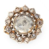 AN ANTIQUE DIAMOND CLUSTER RING in high carat yellow gold and silver, set with a central rose cut