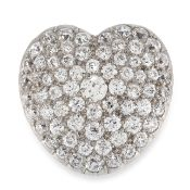 AN ANTIQUE DIAMOND HEART BROOCH, CIRCA 1900 in yellow gold, designed as a heart, jewelled allover to