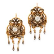 A PAIR OF ANTIQUE ENAMEL AND DIAMOND EARRINGS, 19TH CENTURY in 18ct yellow gold, set with central