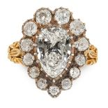 AN ANTIQUE DIAMOND DRESS RING, 19TH CENTURY in 18ct yellow gold and silver, set with a principal