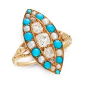 AN ANTIQUE DIAMOND, TURQUOISE AND PEARL RING, 19TH CENTURY in yellow gold, the navette face set with