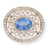 AN ANTIQUE CEYLON NO HEAT SAPPHIRE, DIAMOND AND ENAMEL BROOCH, LATE 19TH CENTURY in yellow gold