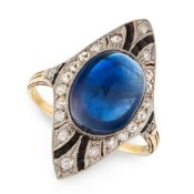 A SAPPHIRE, ONYX AND DIAMOND DRESS RING, CIRCA 1930 in 14ct yellow gold, set with an oval cabochon