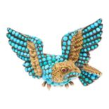AN ANTIQUE TURQUOISE AND GARNET MOURNING LOCKET EAGLE BROOCH, 19TH CENTURY in yellow gold and