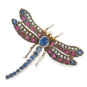 A SAPPHIRE, RUBY AND DIAMOND DRAGONFLY BROOCH modelled as a dragonfly with its wings splayed, its