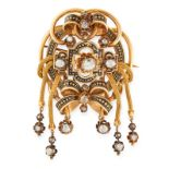 AN ANTIQUE DIAMOND AND ENAMEL TASSEL BROOCH, 19TH CENTURY in 18ct yellow gold, set with a trio of