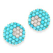 A PAIR OF TURQUOISE AND DIAMOND BOULE EARRINGS in 18ct yellow gold, in circular design, set with