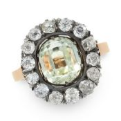 AN ANTIQUE AQUAMARINE AND DIAMOND CLUSTER RING, RUSSIAN in 14ct yellow gold and silver, set with a
