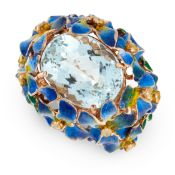 AN ENAMEL, AQUAMARINE AND YELLOW DIAMOND BOMBE RING set with a central oval cut aquamarine of